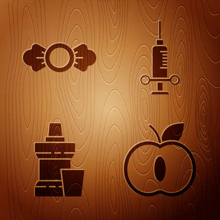 Set Apple, Candy, Mouthwash plastic bottle and Dental medical syringe on wooden background. Vector