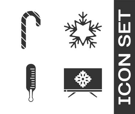 Set Merry Christmas on television, Christmas candy cane with stripes, Meteorology thermometer measuring and Snowflake icon. Vector Foto de archivo - 164679223