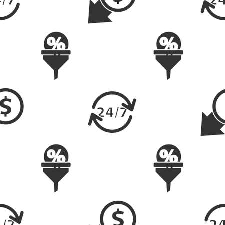 Set Financial growth and coin, Clock 24 hours and Lead management on seamless pattern. Vector