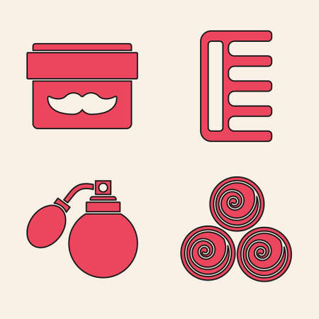 Set Towel rolls, Cream or lotion cosmetic jar, Hairbrush and Aftershave bottle with atomizer icon. Vector