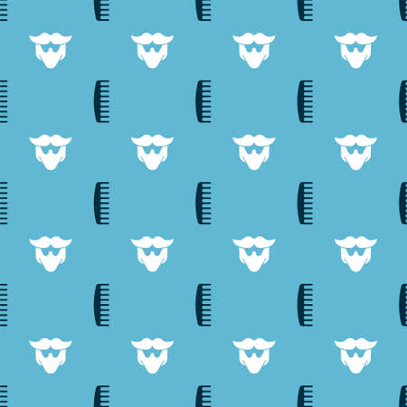 Set Hairbrush and Mustache and beard on seamless pattern. Vector