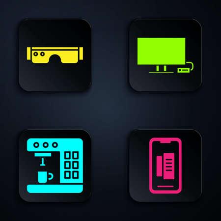 Set Smartphone, mobile phone, Smart glasses, Coffee machine and Smart Tv. Black square button. Vector Vectores