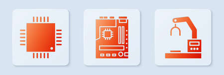 Set Motherboard, Processor with microcircuits CPU and Robotic robot arm hand factory. White square button. Vector Foto de archivo - 164679250