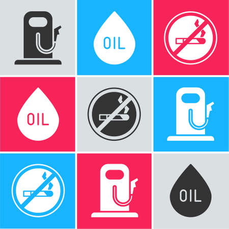 Set Petrol or gas station, Oil drop and No Smoking icon. Vector