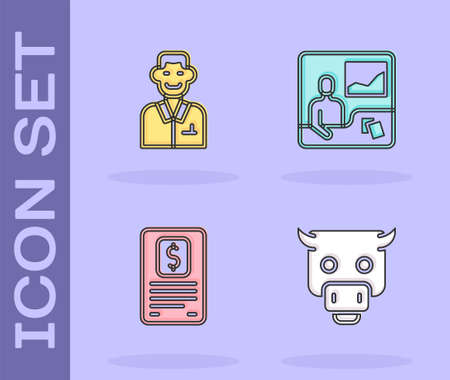 Set Bull market, Trader, Business finance report and Trading courses icon. Vector Ilustracja