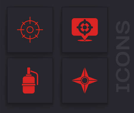Set Japanese ninja shuriken, Target sport, and Hand grenade icon. Vector Vettoriali