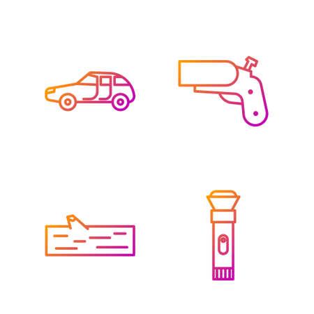 Set line Flashlight, Wooden log, Car and Flare gun pistol. Gradient color icons. Vector
