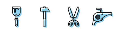 Set line Scissors, Putty knife, Hammer and Leaf garden blower icon. Vector Ilustración de vector