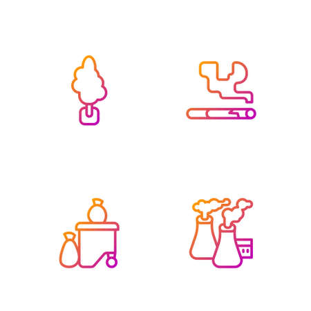 Set line Smoke from factory, Full dustbin, Tree and Cigarette. Gradient color icons. Vector