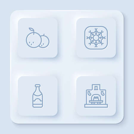 Set line Tangerine, Snowflake, Champagne bottle and Interior fireplace. White square button. Vector