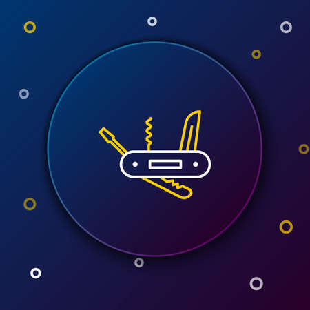 Line Swiss army knife icon isolated on blue background. Multi-tool, multipurpose penknife. Multifunctional tool. Colorful outline concept. Vector Illusztráció