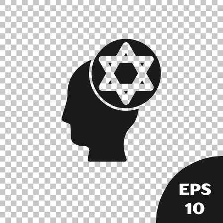Black Orthodox jewish hat icon isolated on transparent background. Jewish men in the traditional clothing. Judaism symbols. Vector Vektorové ilustrace