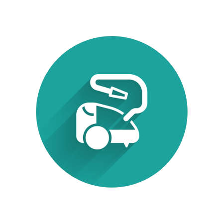 White Vacuum cleaner icon isolated with long shadow. Green circle button. Vector