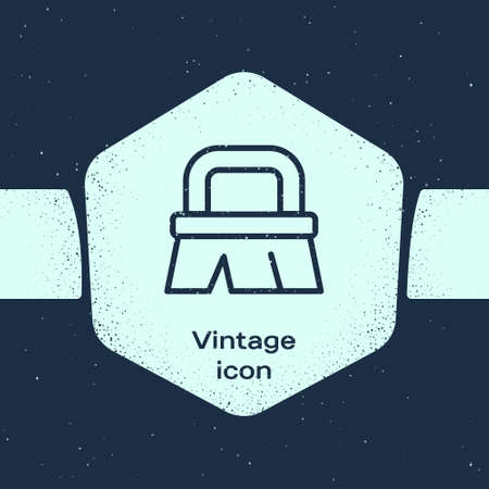 Grunge line Brush for cleaning icon isolated on blue background. Monochrome vintage drawing. Vector