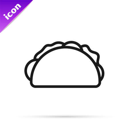 Black line Taco with tortilla icon isolated on white background. Traditional mexican fast food menu. Vector Vector Illustration