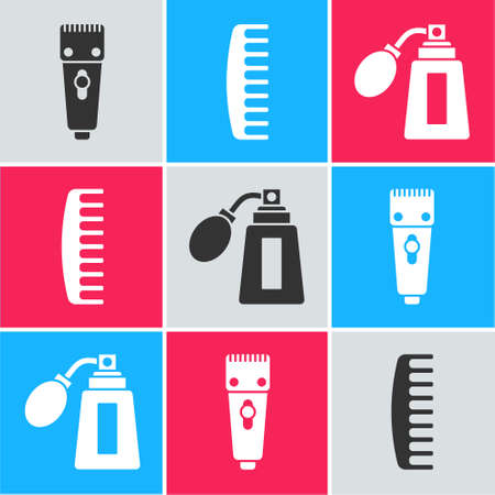 Set Electrical hair clipper or shaver, Hairbrush and Aftershave bottle with atomizer icon. Vector