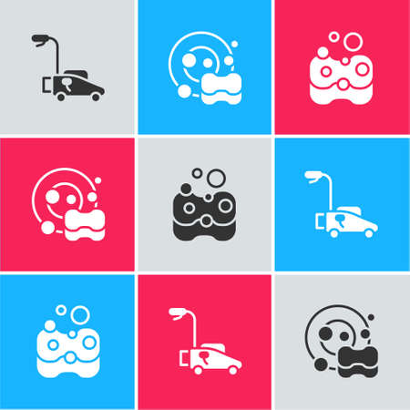 Set Lawn mower, Washing dishes and Sponge icon. Vector