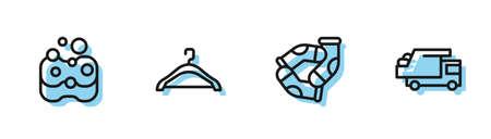Set line Socks, Sponge, Hanger wardrobe and Garbage truck icon. Vector