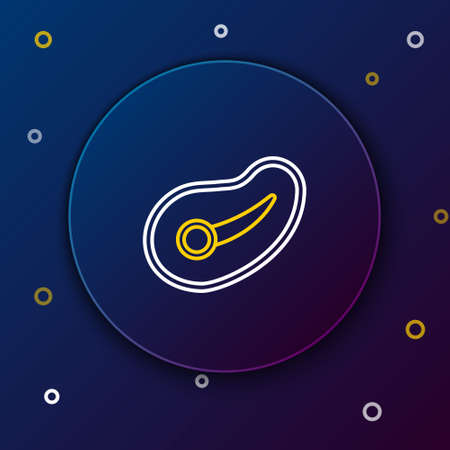 Line Steak meat icon isolated on blue background. Colorful outline concept. Vector