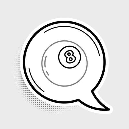 Line Magic ball of predictions for decision-making icon isolated on grey background. Crystal ball. Colorful outline concept. Vector