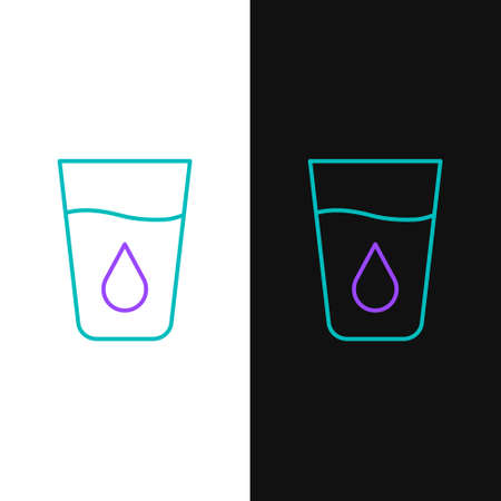 Line Glass with water icon isolated on white and black background. Soda glass. Colorful outline concept. Vector