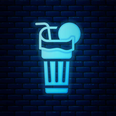 Glowing neon Fresh smoothie icon isolated on brick wall background. Vector