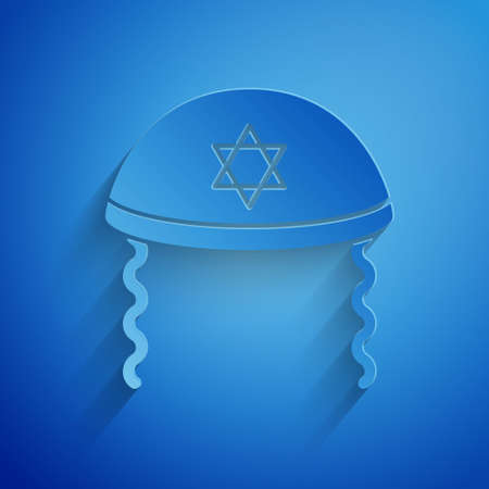 Paper cut Jewish kippah with star of david and sidelocks icon isolated on blue background. Jewish yarmulke hat. Paper art style. Vector