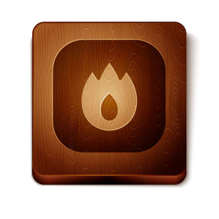 Brown Fire flame icon isolated on white background. Wooden square button. Vector