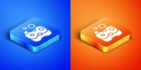 Isometric Sponge icon isolated on blue and orange background. Wisp of bast for washing dishes. Cleaning service concept. Square button. Vector