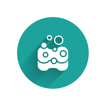 White Sponge icon isolated with long shadow. Wisp of bast for washing dishes. Cleaning service concept. Green circle button. Vector