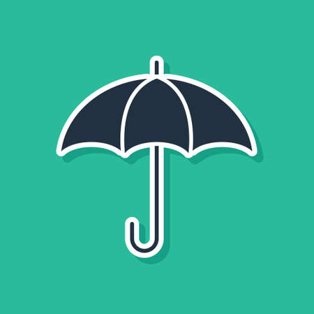 Blue Umbrella icon isolated on green background. Insurance concept. Waterproof icon. Protection, safety, security concept. Vector