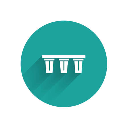 White Water filter icon isolated with long shadow. System for filtration of water. Reverse osmosis system. Green circle button. Vector