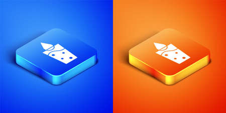Isometric Glass with water icon isolated on blue and orange background. Soda glass. Square button. Vector