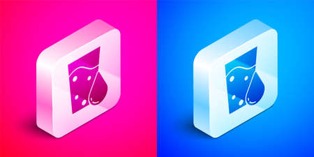 Isometric Glass with water icon isolated on pink and blue background. Soda glass. Silver square button. Vector Иллюстрация