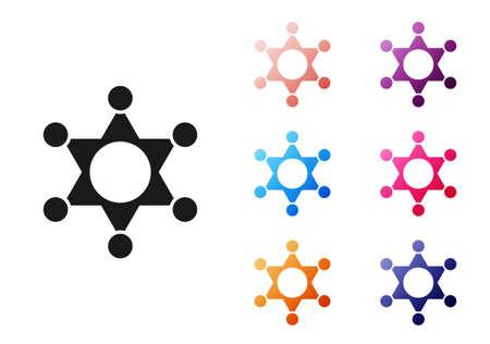 Black Hexagram sheriff icon isolated on white background. Police badge icon. Set icons colorful. Vector