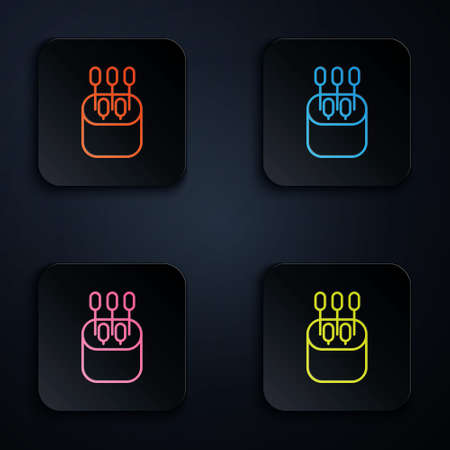Color neon line Cotton swab for ears icon isolated on black background. Set icons in square buttons. Vector Illustration Иллюстрация