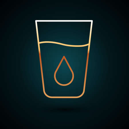 Gold line Glass with water icon isolated on dark blue background. Soda glass. Vector