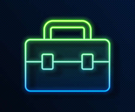Glowing neon line Toolbox icon isolated on blue background. Tool box sign. Vector Vettoriali