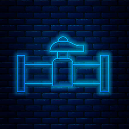 Glowing neon line Industry metallic pipe and valve icon isolated on brick wall background. Vector