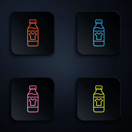 Color neon line Plastic bottle for laundry detergent, bleach, dishwashing liquid or another cleaning agent icon isolated on black background. Set icons in square buttons. Vector