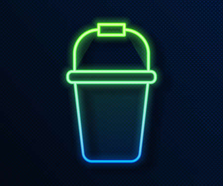 Glowing neon line Bucket icon isolated on blue background. Vector
