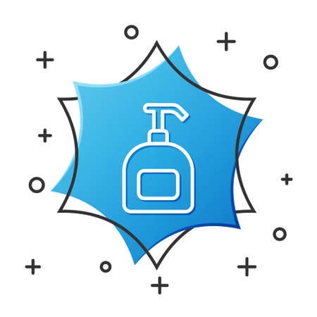 White line Bottle of liquid antibacterial soap with dispenser icon isolated on white background. Antiseptic. Disinfection, hygiene, skin care. Blue hexagon button. Vector 向量圖像