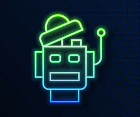 Glowing neon line Robot icon isolated on blue background. Artificial intelligence, machine learning, cloud computing. Vector