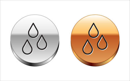 Black line Water drop icon isolated on white background. Silver-gold circle button. Vector