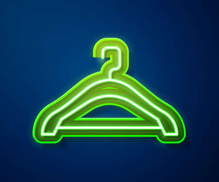 Glowing neon line Hanger wardrobe icon isolated on blue background. Cloakroom icon. Clothes service symbol. Laundry hanger sign. Vector 向量圖像