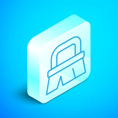 Isometric line Brush for cleaning icon isolated on blue background. Silver square button. Vector Иллюстрация