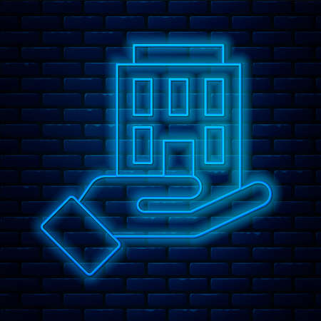 Glowing neon line House in hand icon isolated on brick wall background. Insurance concept. Security, safety, protection, protect concept. Vector