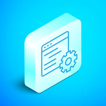 Isometric line Computer api interface icon isolated on blue background. Application programming interface API technology. Software integration. Silver square button. Vector 向量圖像