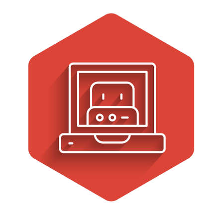 White line Creating robot icon isolated with long shadow. Artificial intelligence, machine learning, cloud computing. Red hexagon button. Vector