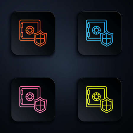 Color neon line Safe box with shield icon isolated on black background. Insurance concept. Security, safety, protection, protect concept. Set icons in square buttons. Vector